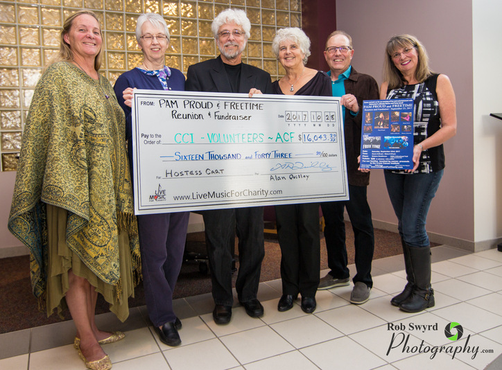 Pam Proud Band Reunion Fundraiser present cheque to Cross Cancer Institute Edmonton